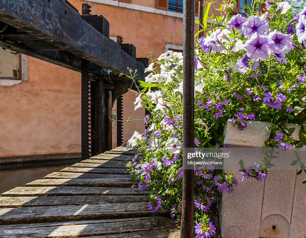 Annecy, France. Detail of the machinery regulating the canal locks : Stock Photo