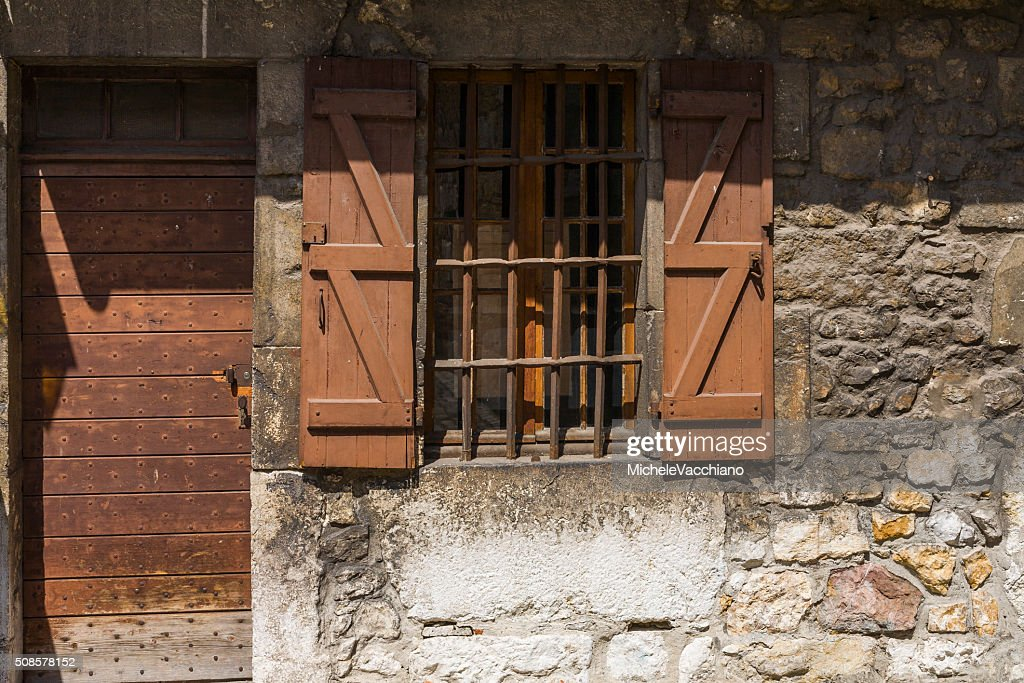 Annecy, France. Door and window in the old town : Bildbanksbilder