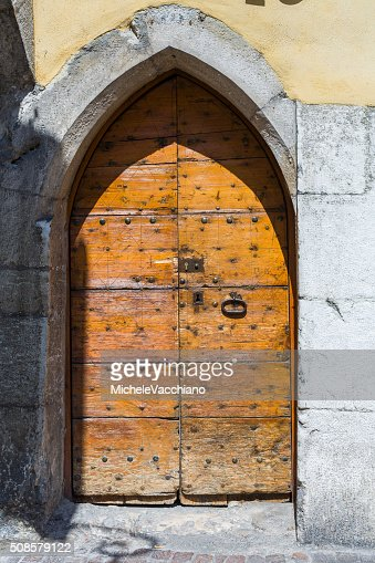 Annecy, France. Wooden door in the old town : Stock Photo