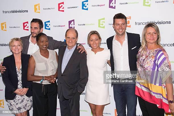 AnneElisabeth Lemoine Matthieu Noel Babette de Rozieres Pierre Lescure Anne Sophie LapixMaxime Switek and Luana Belmondo attend 'France Televisions'...