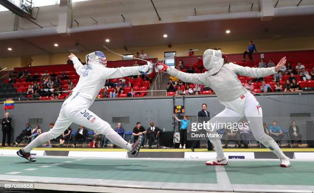 AnneElizabeth Stone ofthe USA fences against Julieta Toledo of Mexico during the gold medal match of the Team Women's Sabre event on June 17 2017 at...