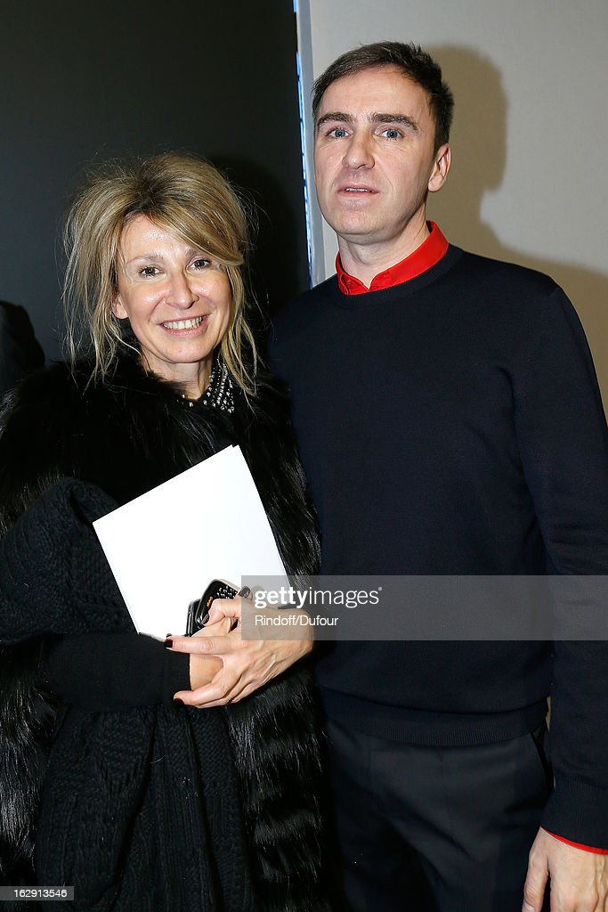 Anne-Florence Schmitt and <a gi-track='captionPersonalityLinkClicked' href=/galleries/search?phrase=Raf+Simons+-+Fashion+Designer&family=editorial&specificpeople=7070305 ng-click='$event.stopPropagation()'>Raf Simons</a> attend the Christian Dior Fall/Winter 2013 Ready-to-Wear show as part of Paris Fashion Week on March 1, 2013 in Paris, France.