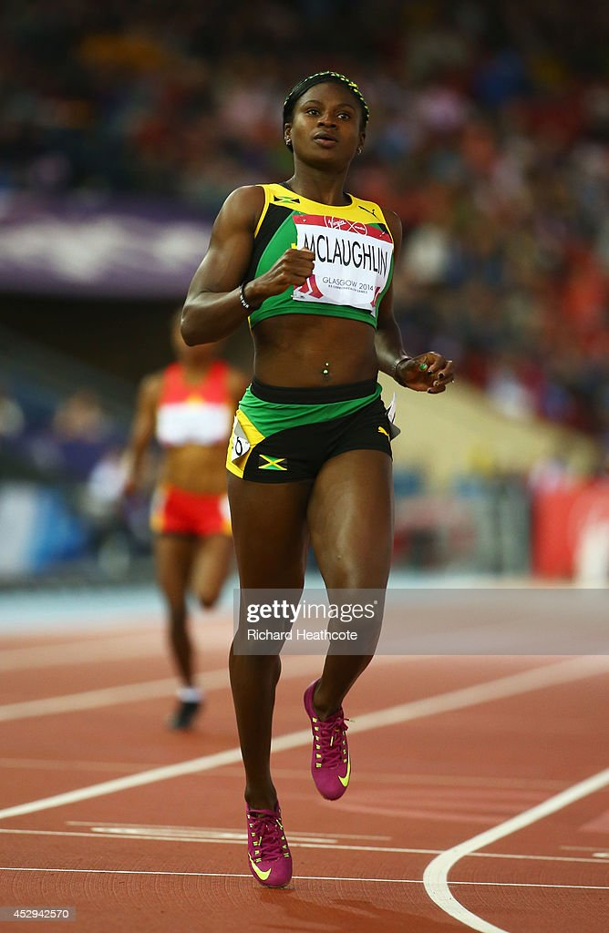 Anneisha McLaughlin of Jamaica competes in the Women's 200 metres heats at Hampden Park during day seven of the Glasgow 2014 Commonwealth Games on July 30, 2014 in Glasgow, United Kingdom.