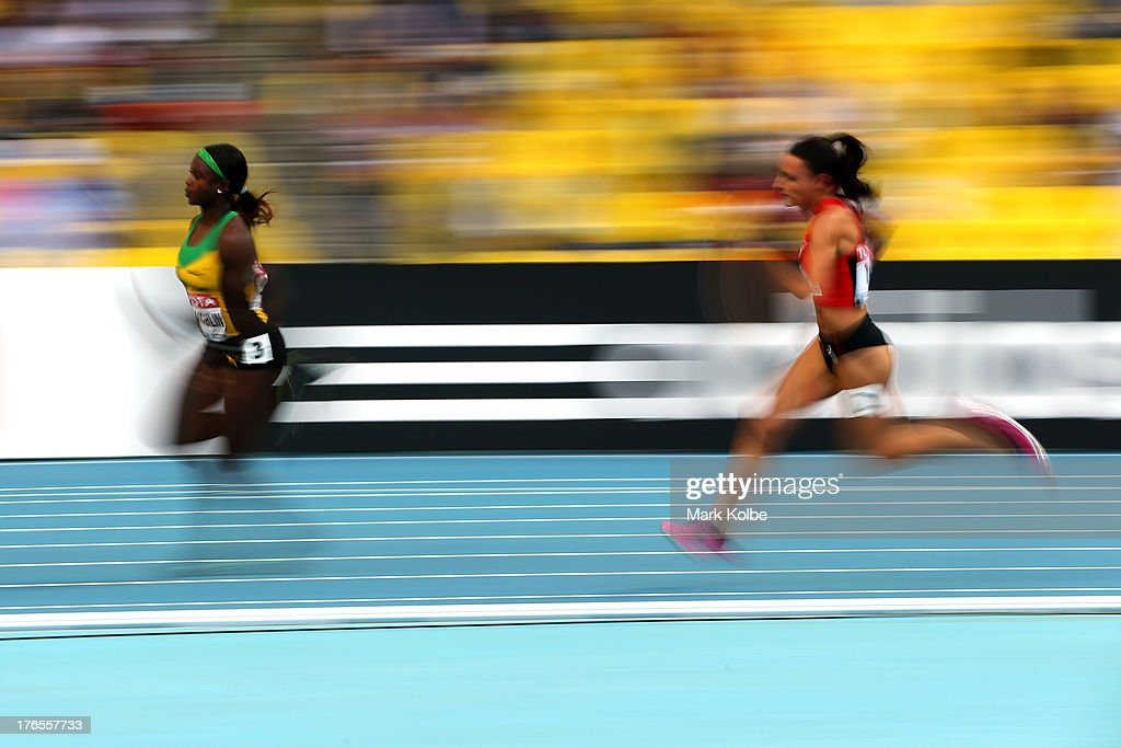 Anneisha McLaughlin of Jamaica competes in the Women's 200 metres semi finals during Day Six of the 14th IAAF World Athletics Championships Moscow 2013 at Luzhniki Stadium on August 15, 2013 in Moscow, Russia.