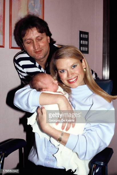 Anneka Rice and husband Nick Allott pose with their newborn son Thomas Allott in 1988 in London England