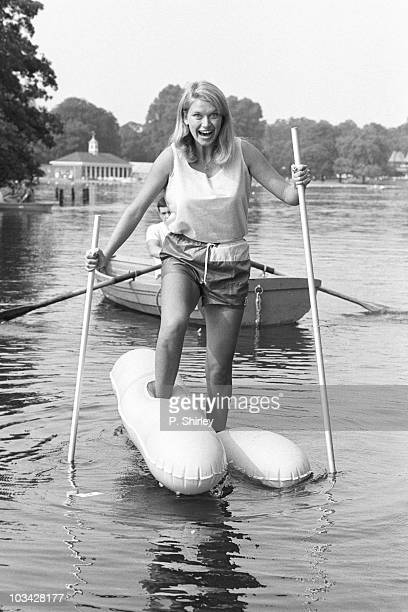 Anneka Rice presenter of British television show 'Treasure Hunt' walks on water on August 27 1984
