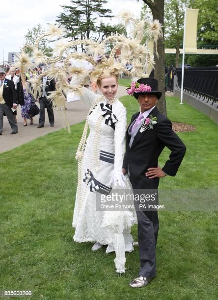 Anneka TanakaSvenska shows off her hat alongside Louis Mariette during Ladies Day at Ascot Racecourse Berkshire