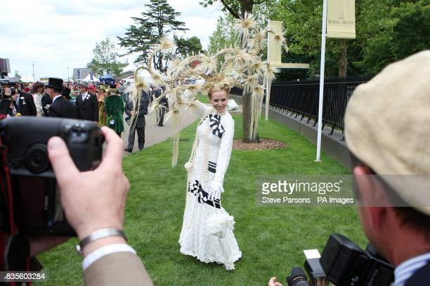 Anneka TanakaSvenska shows off her hat during Ladies Day at Ascot Racecourse Berkshire