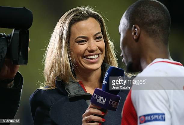 AnneLaure Bonnet of beIN Sports interviews Djibril Sidibe of Monaco following the UEFA Champions League match between AS Monaco FC and Tottenham...