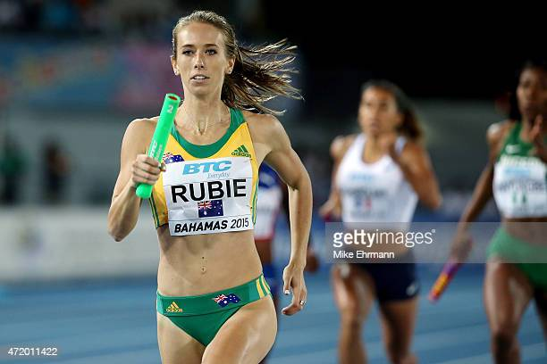 Anneliese Rubie of Australia competes during round one of the women's 4 x 400 metres relay on day one of the IAAF World Relays at Thomas Robinson...