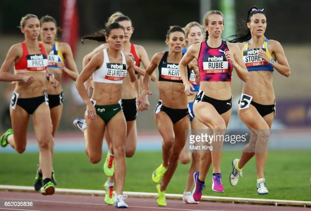 Anneliese Rubie of Victoria leads Lora Storey of NSW in the Women800m A Final during the SUMMERofATHS Grand Prix on March 11 2017 in Canberra...