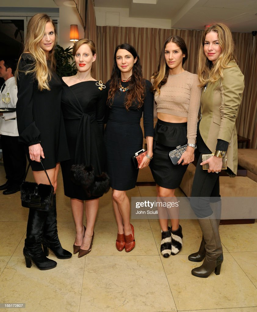 Annelise Peterson, Liz Goldwyn, Shiva Rose, Minnie Mortimer Gaghan and Claiborne Swanson Frank attend a dinner hosted by Ali Larter celebrating the Devi Kroell Spring Summer 2013 Collection at Sunset Tower on November 1, 2012 in West Hollywood, California.