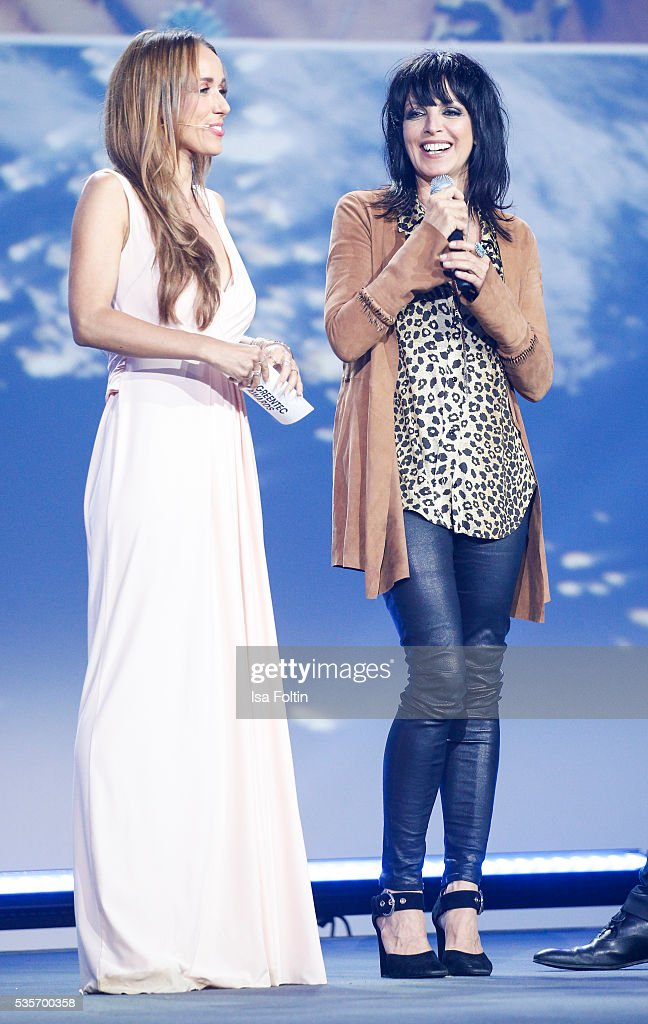 Annemarie Carpendale and Nena live on stage during the Green Tec Award at ICM Munich on May 29, 2016 in Munich, Germany.