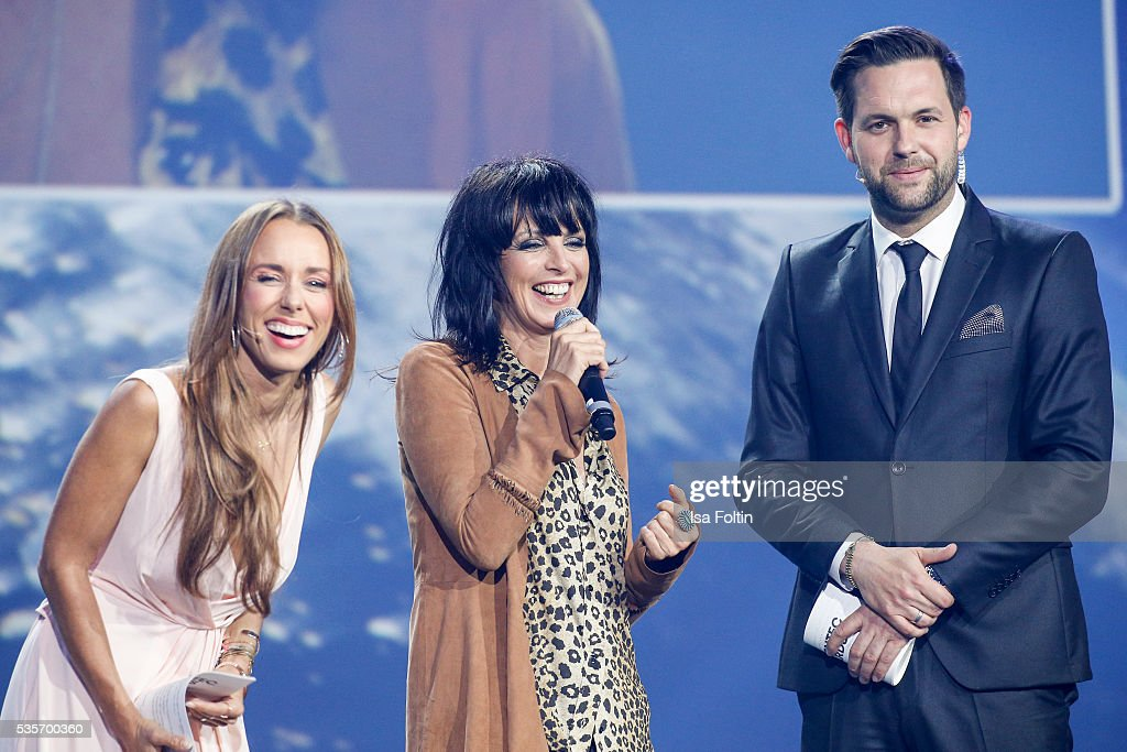 Annemarie Carpendale, Nena and Matthias Killing live on stage during the Green Tec Award at ICM Munich on May 29, 2016 in Munich, Germany.