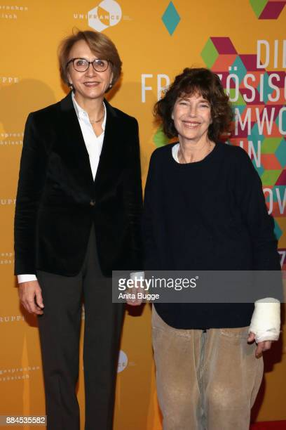 AnneMarie Descotes French ambassador in Berlin and Jane Birkin attend the 'Actrices' exhibition opening at the Institut Francais on December 2 2017...