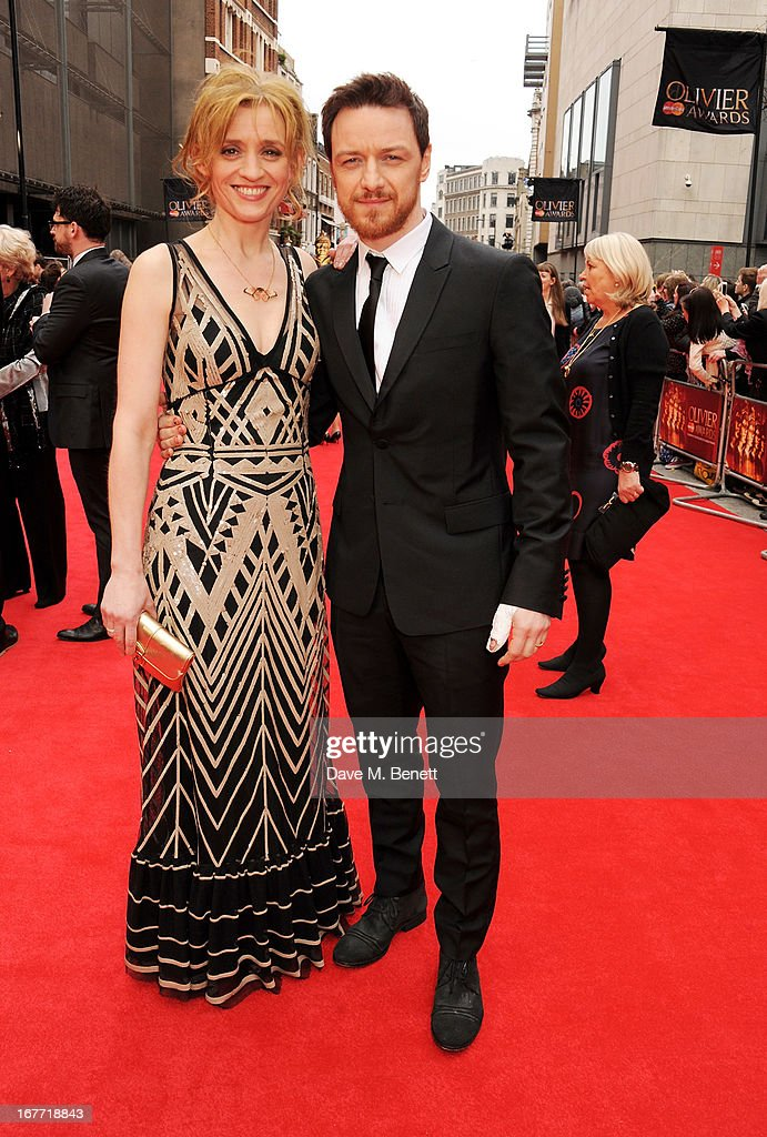 Anne-Marie Duff (L) and James McAvoy arrive at The Laurence Olivier Awards 2013 at The Royal Opera House on April 28, 2013 in London, England.