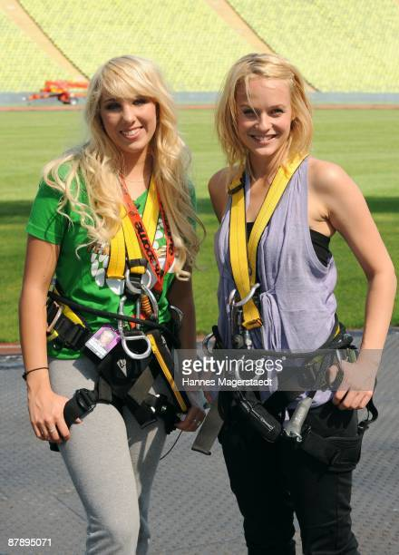 Annemarie Eifeld and Mirjam Weichselbraun during the photocall at the Olympiastadion for THE DOME 50 on May 21 2009 in Munich Germany