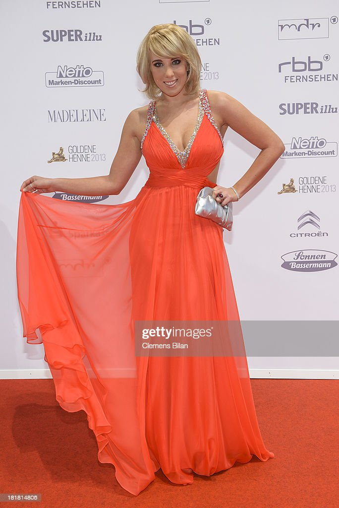 <a gi-track='captionPersonalityLinkClicked' href=/galleries/search?phrase=Annemarie+Eilfeld&family=editorial&specificpeople=5761972 ng-click='$event.stopPropagation()'>Annemarie Eilfeld</a> arrives for the Goldene Henne 2013 award at Stage Theater on September 25, 2013 in Berlin, Germany.