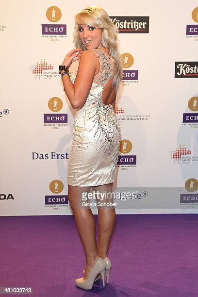 Annemarie Eilfeld poses on the red carpet prior the Echo award 2014 at Messe Berlin on March 27 2014 in Berlin Germany