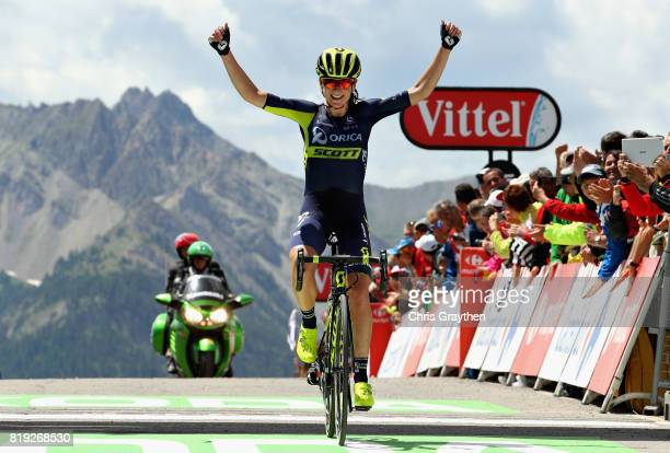 Annemiek Van Vleuten of Netherlands riding for Team Orica Scott crosses the line to take the stage win on the first stage of the 4th La Course by...