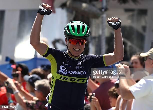 Annemiek Van Vleuten of Orica Scott and the Netherlands crosses the line to win the Elite Women's race during the 2017 Cadel Evans Great Ocean Road...