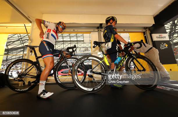 Annemiek van Vleuten of The Netherlands and Orica Scott and Elizabeth Deignan of Great Britain and Boels Dolmans CyclingTeam makes their way to the...