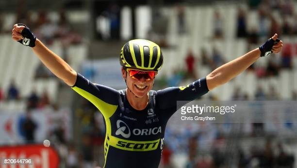 Annemiek van Vleuten of The Netherlands and Orica Scott celebrates as she crosses the line to win during stage two of La Course 2017 on July 22 2017...