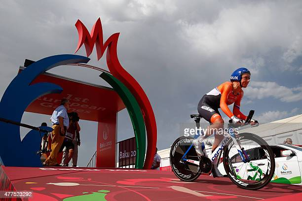 Annemiek Van Vleuten of The Netherlands competes in the Women's Road cycling Individual Time Trial during day six of the Baku 2015 European Games at...