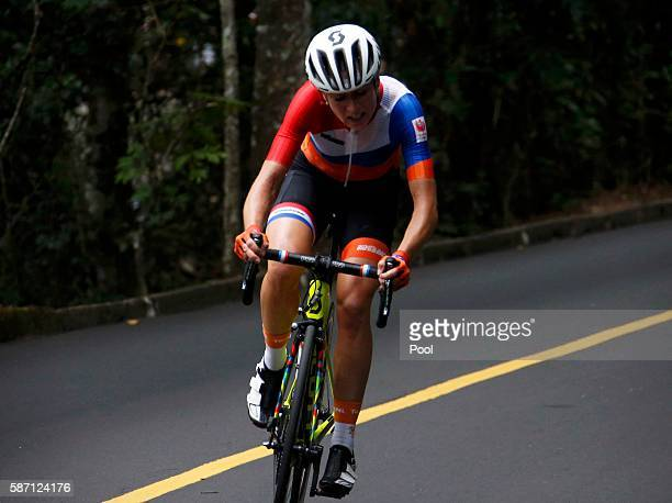 Annemiek van Vleuten of the Netherlands competes in the women's cycling road race on Day 2 of the Rio 2016 Olympics Games August 7 2016 in Rio de...