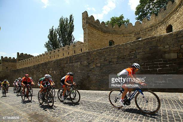 Annemiek van Vleuten of the Netherlands leads a climb through the Old Town during the Women's Road Race on day eight of the Baku 2015 European Games...
