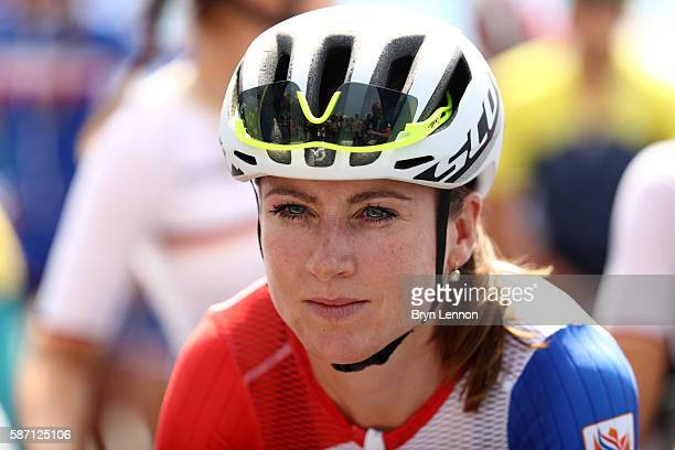Annemiek van Vleuten of the Netherlands prepares to start the Women's Road Race on Day 2 of the Rio 2016 Olympic Games at Fort Copacabana on August 7...