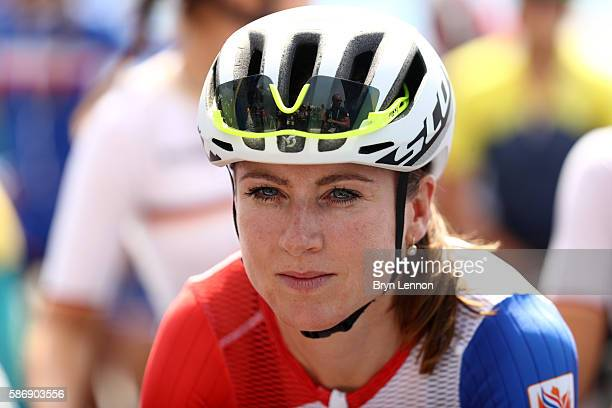 Annemiek van Vleuten of the Netherlands stands on the start line prior to the Women's Road Race on Day 2 of the Rio 2016 Olympic Games at Fort...