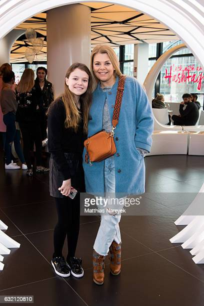 Annsophie Briest and her daughter Faye Montana attend the 'LECK MICH AM HASHTAG' brunch during MercedesBenz Fashion Week Berlin A/W 2017 on January...