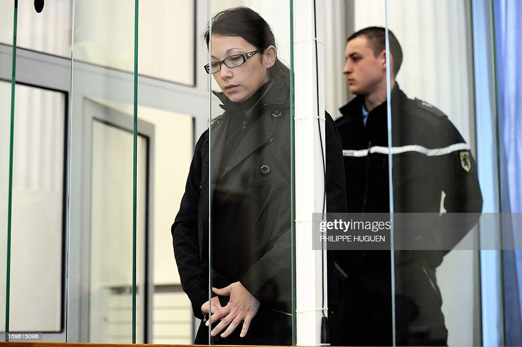 Anne-Sophie Faucheur arrives at the Douai courthouse, northern France, on January 21, 2013 before the start of her trial in connection with her daughter's death. The body of her daughter Typhaine was found in December 9, 2009 in a suburb of the southern Belgian city of Charleroi and Faucheur and the stepfather of the child, Nicolas Willot, finally recognized that she had died at their house on June 10, 2009 and that her body had been buried somewhere in Belgium.