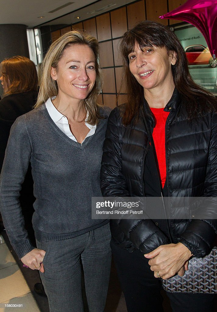 Anne-Sophie Lapix (L) and Anne Marcassus pose before the Don Quichotte Ballet Hosted By 'Reve d'Enfants' Association and AROP at Opera Bastille on December 9, 2012 in Paris, France.