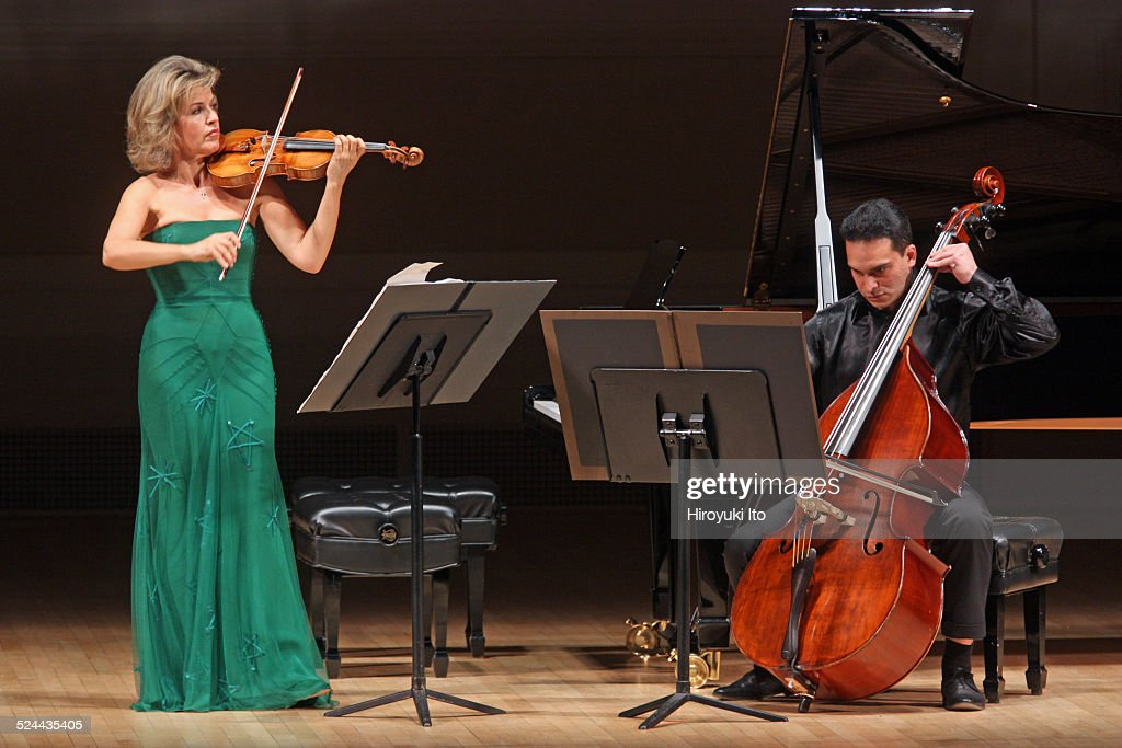<a gi-track='captionPersonalityLinkClicked' href=/galleries/search?phrase=Anne-Sophie+Mutter&family=editorial&specificpeople=784120 ng-click='$event.stopPropagation()'>Anne-Sophie Mutter</a>, accompanied by Roman Patkolo on double bass, performing Sebastian Currier's 'Ringtone Variations' at Carnegie Hall on Tuesday night, November 11, 2014.