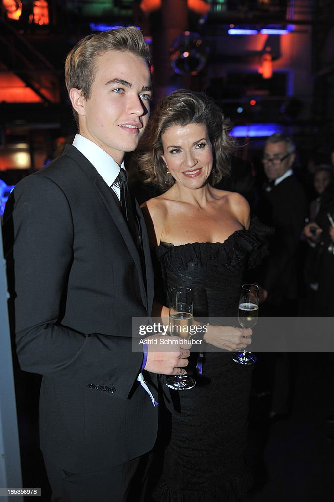 Anne-Sophie Mutter (Violinist) and her son Richard attend the Hadassah Dinner And Dance Charity Gala at the Kesselhaus on October 19, 2013 in Munich, Germany.