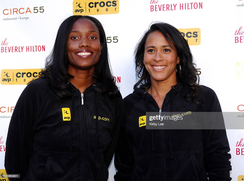 Annett Davis and Jennifer Johnson Jordan at the 2007 AVP Crocs Tour Launch Party at the Beverly Hilton in Beverly Hills, Calif. on Thursday, March 29, 2007. Jordan is the daughter of 1960 Olympic decathlon gold medallist Rafer Johnson.