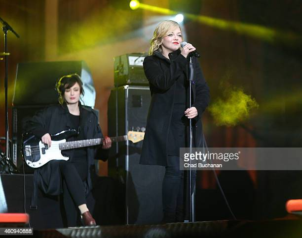 Annett Louisan performs at the Brandenburg Gate New Years Eve Party on December 31 2014 in Berlin Germany