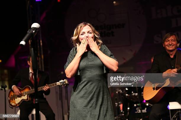 Annett Louisan sings during the late night shopping at Designer Outlet Soltau on August 5 2016 in Soltau Germany