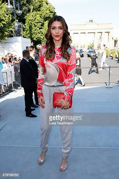 Annett Moeller attends the Marc Cain show during the MercedesBenz Fashion Week Berlin Spring/Summer 2016 at Brandenburg Gate on July 7 2015 in Berlin...