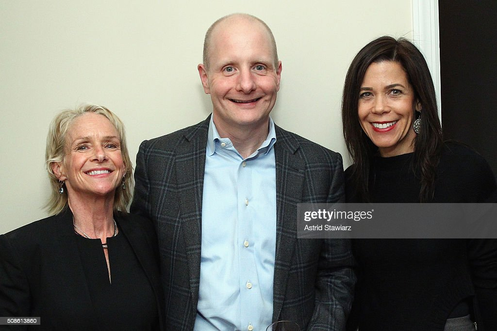 Annette Barnhart, Rob Barnhart, and Chief Revenue Officer at DuJour Magazine Leslie Farrand attend an intimate evening of friends and colleagues at Mr. Colin Dougherty's New York City apartment on February 5, 2016 in New York City.