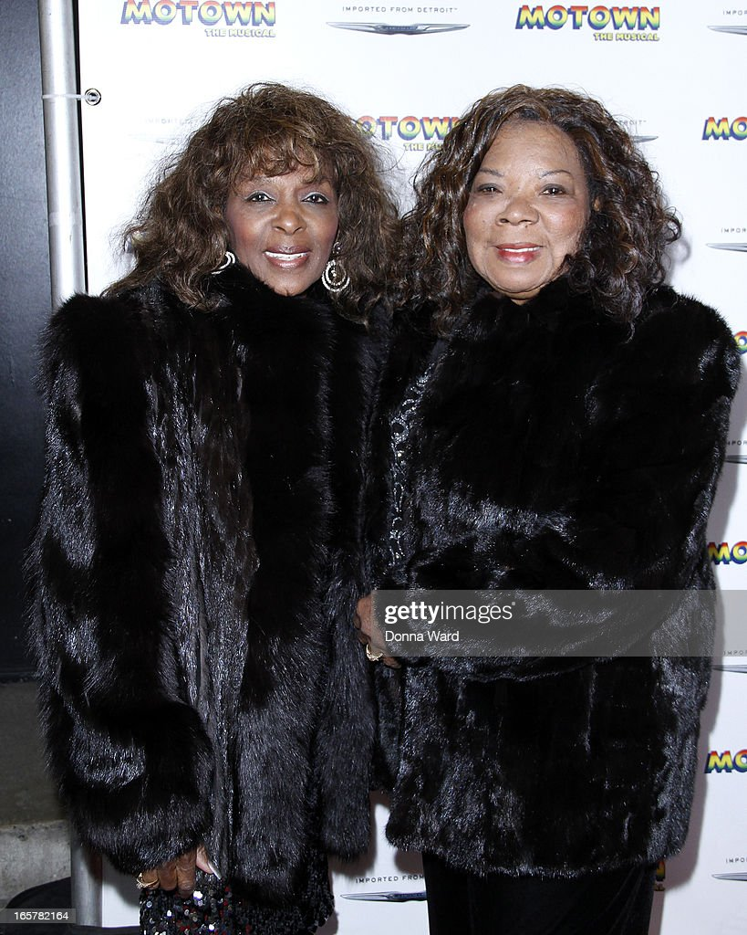 Annette Beard and Rosalind Ashford of the Vandellas attend 'Motown: The Musical' Motown Family Night at Lunt-Fontanne Theatre on April 5, 2013 in New York City.