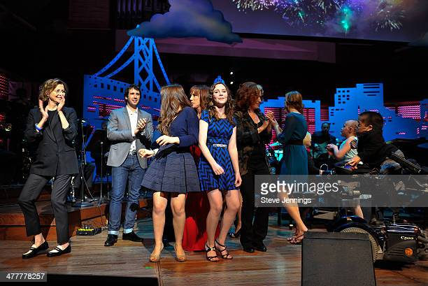 Annette Bening and Josh Groban dance on stage with kids from The Painted Turtle camp at the UCSF Medical Center and The Painted Turtle Present A...