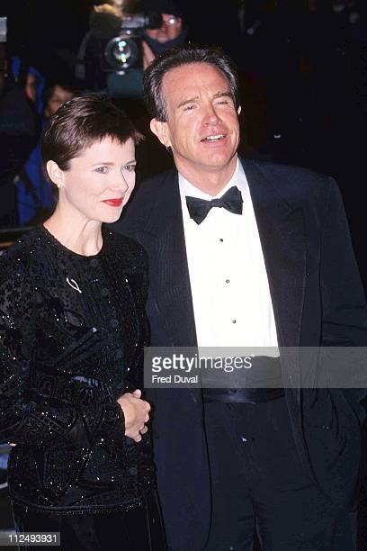 Annette Bening and Warren Beatty during 'American President' UK Film Premiere December 1 1995 at Leicester Square in London Great Britain