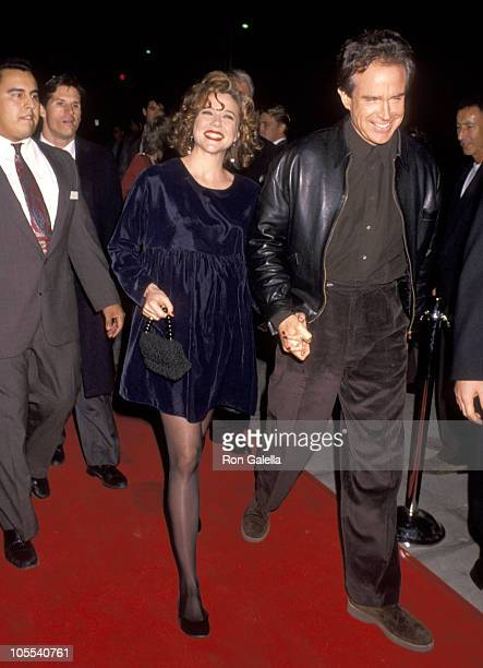 Annette Bening and Warren Beatty during 'Bugsy' Los Angeles Premiere at Academy Theater in Beverly Hills California United States