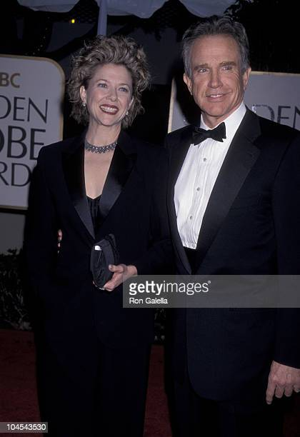 Annette Bening and Warren Beatty during The 56th Annual Golden Globe Awards Red Carpet at Beverly Hilton Hotel in Beverly Hills California United...