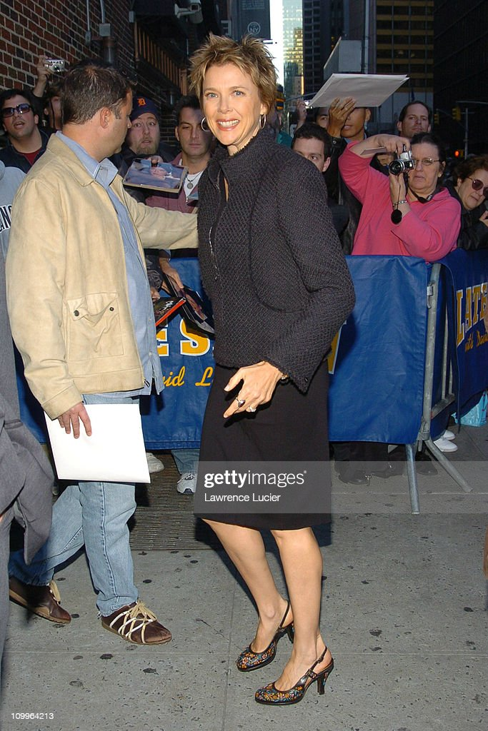 <a gi-track='captionPersonalityLinkClicked' href=/galleries/search?phrase=Annette+Bening&family=editorial&specificpeople=202568 ng-click='$event.stopPropagation()'>Annette Bening</a> during <a gi-track='captionPersonalityLinkClicked' href=/galleries/search?phrase=Annette+Bening&family=editorial&specificpeople=202568 ng-click='$event.stopPropagation()'>Annette Bening</a> Arrives at The Late Show with David Letterman - October 5, 2004 at Ed Sullivan Theater in New York City, New York, United States.