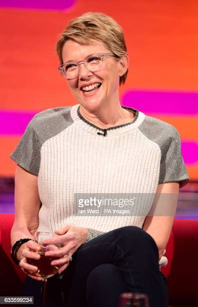 Annette Bening during the filming of the Graham Norton Show at The London Studios south London to be aired on BBC One on Friday evening