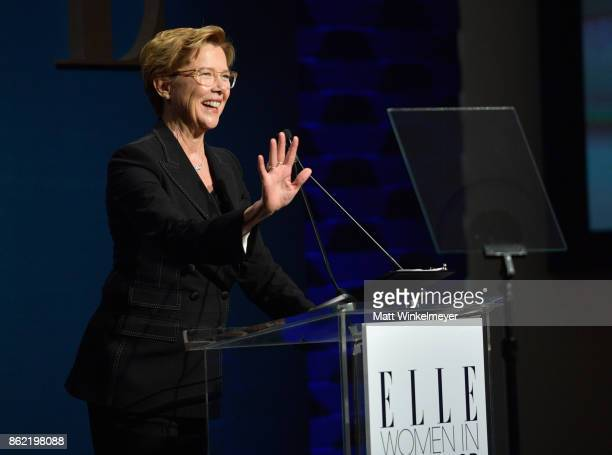 Annette Bening speaks onstage at ELLE's 24th Annual Women in Hollywood Celebration presented by L'Oreal Paris Real Is Rare Real Is A Diamond and...